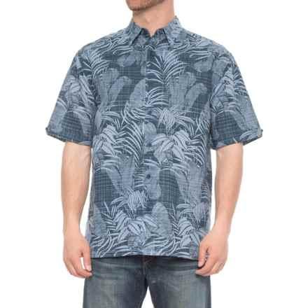 Specially made Tropical Print Linen-Blend Shirt - Short Sleeve (For Men) in Moonlight Ocean - 2nds