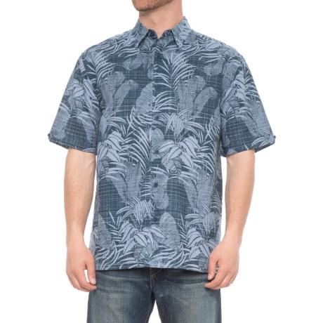 Specially made Tropical Print Linen-Blend Shirt - Short Sleeve (For Men) in Moonlight Ocean