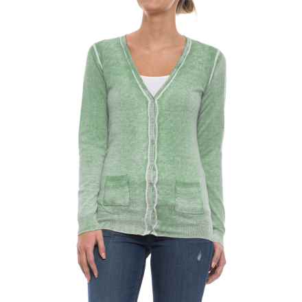 Specially made Two-Pocket Cotton Cardigan Sweater (For Women) in Green Wash - 2nds