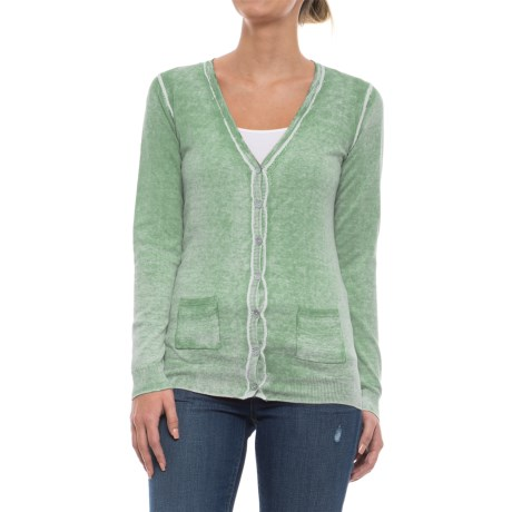 Specially made Two-Pocket Cotton Cardigan Sweater (For Women) in Green Wash