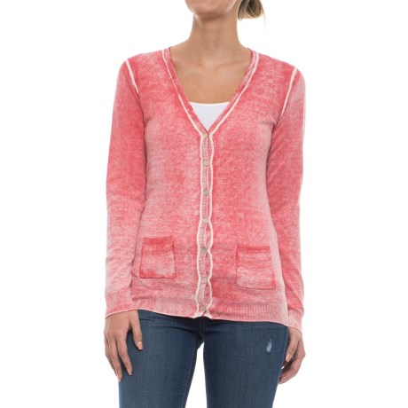 Specially made Two-Pocket Cotton Cardigan Sweater (For Women) in Pink Wash