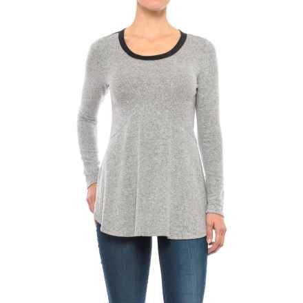 Specially made Two-Tone Heathered Tunic Shirt - Long Sleeve (For Women) in Heather Grey - 2nds