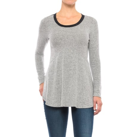 Specially made Two-Tone Heathered Tunic Shirt - Long Sleeve (For Women) in Heather Grey