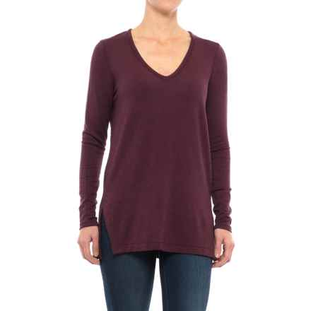 Specially made V-Neck Heathered Shirt - Long Sleeve (For Women) in Wine - 2nds