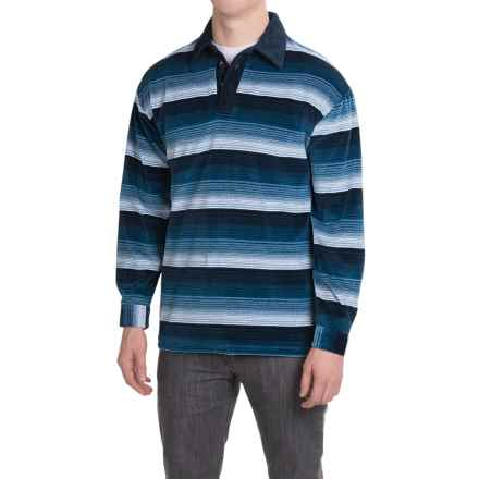 Specially made Velour Striped Shirt - Long Sleeve (For Men) in Navy - 2nds