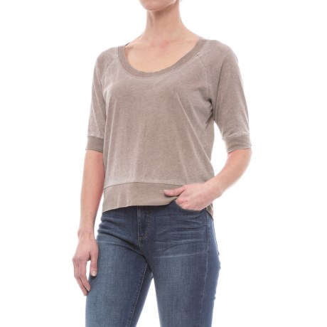 Specially made Vintage Wash Knit Shirt - Scoop Neck, Short Sleeve (For Women) in Taupe