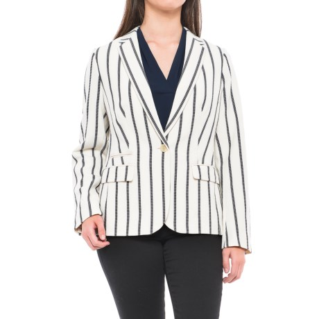 Specially made Waffle-Knit Blazer (For Women) in Ivory/Black Stripe
