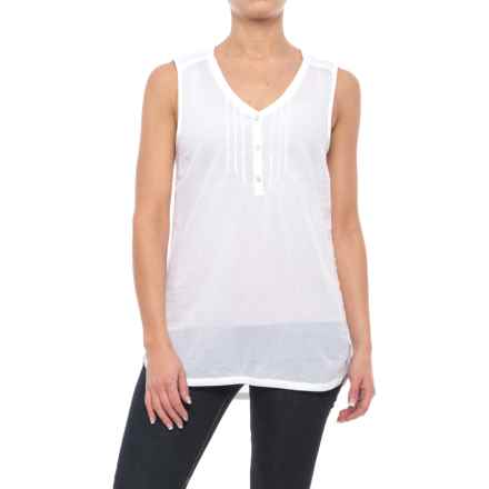 Specially made Woven Cotton Shirt - Sleeveless (For Women) in White - 2nds