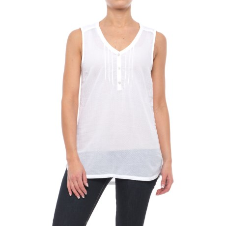 Specially made Woven Cotton Shirt - Sleeveless (For Women) in White