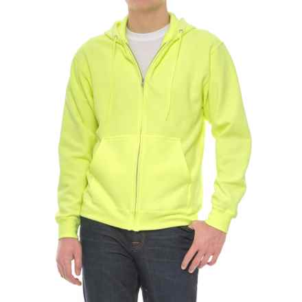Specially made Zip Fleece Hoodie (For Men) in Fluorescent Yellow - Closeouts