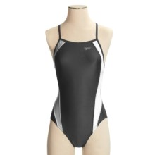 Speedo Axcel Team Splice Swimsuit - 1-Piece, Axcel Back (For Women) in Black/White - Closeouts