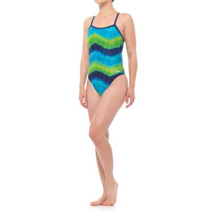 Speedo Bye Tie-Dye Fly ADT One-Piece Bathing Suit (For Women) in Blue - Closeouts