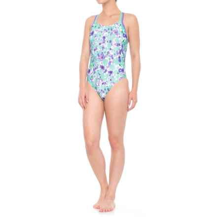 Speedo Double Crossback One-Piece Swimsuit (For Women) in Aqua - Closeouts