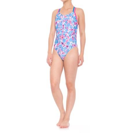 Speedo Double Crossback One-Piece Swimsuit (For Women) in Blue