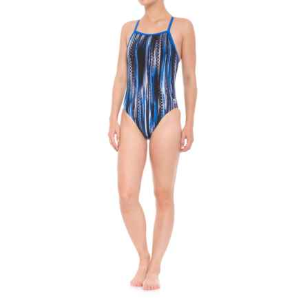 Speedo Endurance+ Deep Within Flyback-Y Competition Swimsuit (For Girls) in Blue - Closeouts