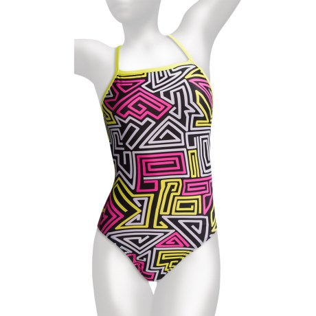 Speedo Flip Turns Y-Back Practice Swimsuit - 1-Piece (For Women) in Black/Hot Pink