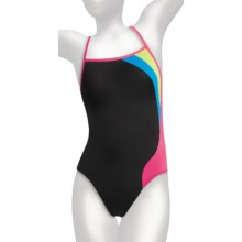 Speedo Flip Turns Y-Back Practice Swimsuit - 1-Piece (For Women) in Black - Closeouts