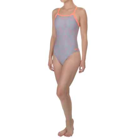 Speedo Flipturns Propel-Back Competition Swimsuit (For Women) in Blue/Orange - Closeouts