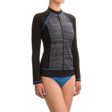 Speedo Full-Zip Rash Guard - Long Sleeve (For Women) in Blue Sky - Closeouts