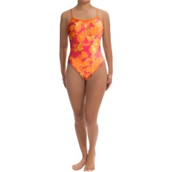Speedo Graphic Daisy Flyback Swimsuit - 1-Piece (For Women) in Sunset Orange
