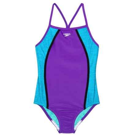 00b0623750de8 Speedo Heather Thin Strap One-Piece Swimsuit - UPF 50+ (For Big Girls