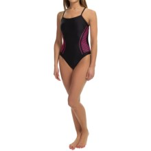 Speedo Intake High-Performance Swimsuit - Cross Back (For Women) in Black/Pink - Closeouts