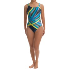 Speedo Laser Stripe Swimsuit - Recordbreaker Back (For Women) in Scuba Blue - Closeouts