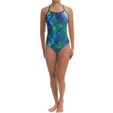 Speedo Mighty Python  One-Piece Swimsuit - Flyback (For Women) in Blue Green - Closeouts