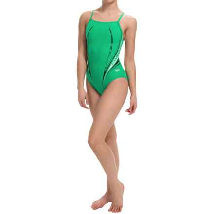 Speedo Motion Dart High-Performance Swimsuit - Flyback (For Women) in Kelly Green - Closeouts