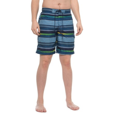 917218ab9d Speedo Navy Ingrain Stripe E-Board Swim Trunks - Built-In Brief (For