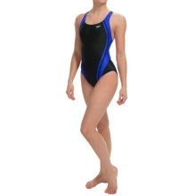 Speedo Quantum Splice High-Performance Swimsuit - Super Pro Back (For Women) in Black/Blue - Closeouts