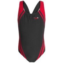 Speedo Quantum Splice Super Pro Back Swimsuit (For Little and Big Girls) in Black/Red - Closeouts