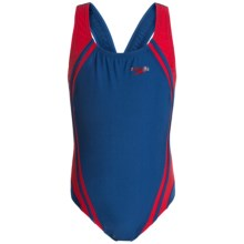 Speedo Quantum Splice Super Pro Back Swimsuit (For Little and Big Girls) in Navy/Red - Closeouts