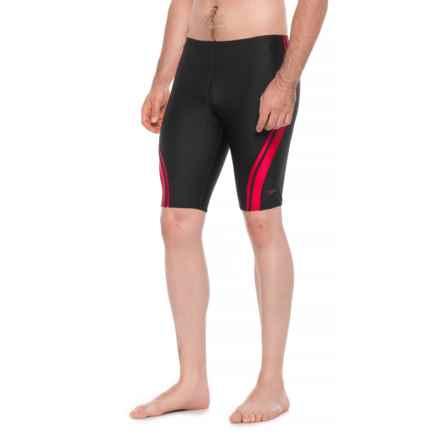 Speedo Quantum Spliced Jammer Swimsuit (For Men) in Black/Red - Closeouts