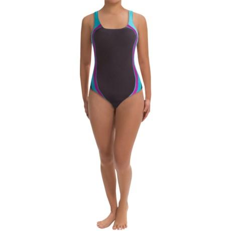 Speedo Quark Splice One-Piece Swimsuit - Pulse Back (For Women) in Teal
