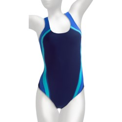 Speedo Quark Splice One-Piece Swimsuit - Pulse Back (For Women) in Teal