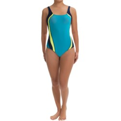 Speedo Quark Splice One-Piece Swimsuit - Pulse Back (For Women) in Charcoal