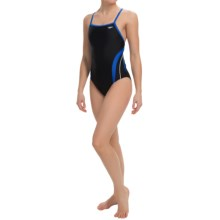 Speedo Rapid Splice Swimsuit - Energy Back (For Women) in Black/Blue - Closeouts