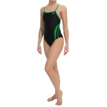 Speedo Rapid Splice Swimsuit - Energy Back (For Women) in Black/Green - Closeouts