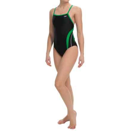 Speedo Rapid Splice Swimsuit - Energy Back (For Women) in Black/Green - Closeouts