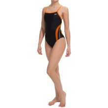 Speedo Rapid Splice Swimsuit - Energy Back (For Women) in Black/Orange - Closeouts