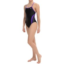 Speedo Rapid Splice Swimsuit - Energy Back (For Women) in Black/Purple - Closeouts