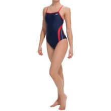 Speedo Rapid Splice Swimsuit - Energy Back (For Women) in Navy/Red - Closeouts