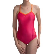 Speedo Solid Logo Flyback Swimsuit - 1-Piece (For Women) in Zinnia - Closeouts