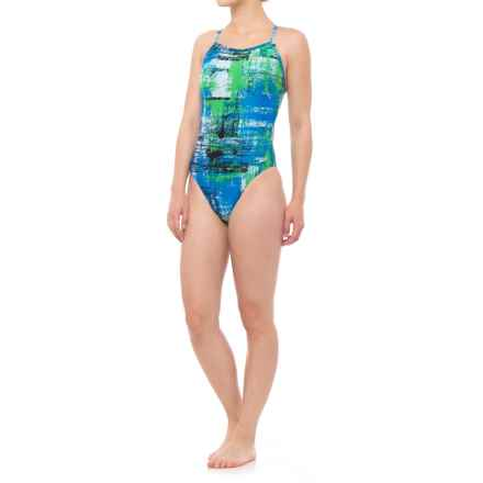 Speedo Splatter Chatter Fly ADT One-Piece Bathing Suit (For Women) in Blue - Closeouts
