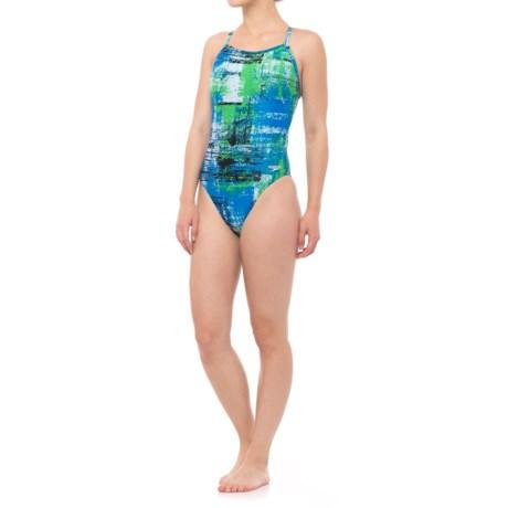 Speedo Splatter Chatter Fly ADT One-Piece Bathing Suit (For Women) in Blue