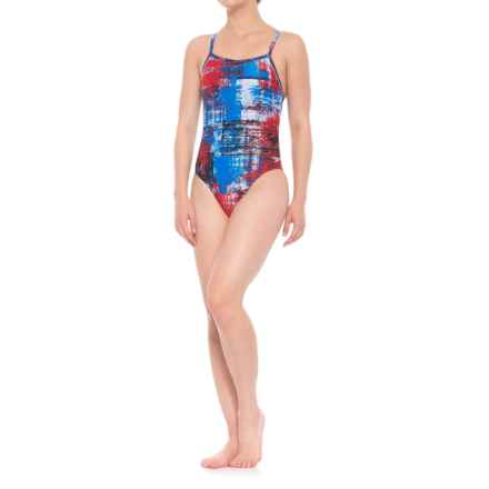 Speedo Splatter Chatter Fly ADT One-Piece Bathing Suit (For Women) in Navy - Closeouts