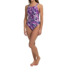Speedo Team Camo Swimsuit - Recordbreaker Back (For Women) in Purple - Closeouts