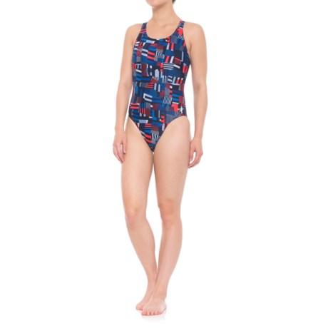 Speedo Trippy Stripe Drop Back One-Piece Bathing Suit (For Women) in Navy