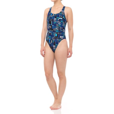 Speedo Trippy Stripe Drop Back Swimsuit (For Women) in Blue